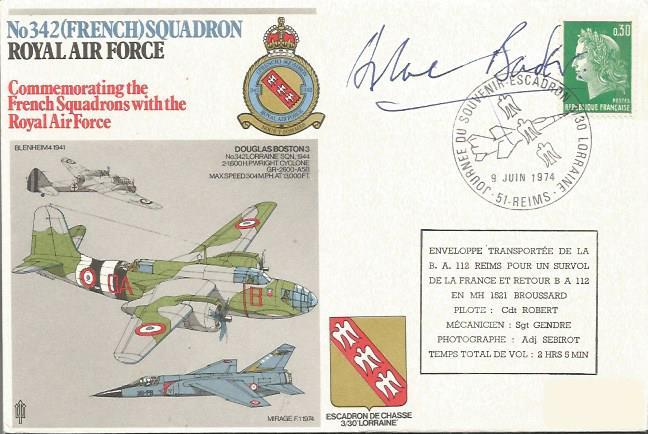 Douglas Bader autographed cover. 1974 342 Sqn RAF