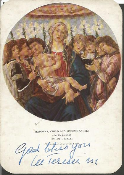 Mother Teresa autographed postcard. Very, very rar