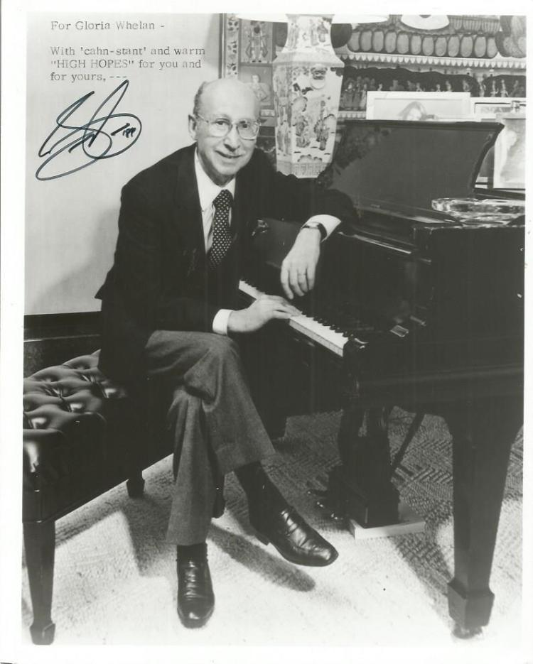 Sammy Cahn autographed photo. Black and white 8x10