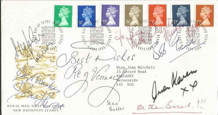On The Buses multi-signed cover. 1990 Royal Mail N