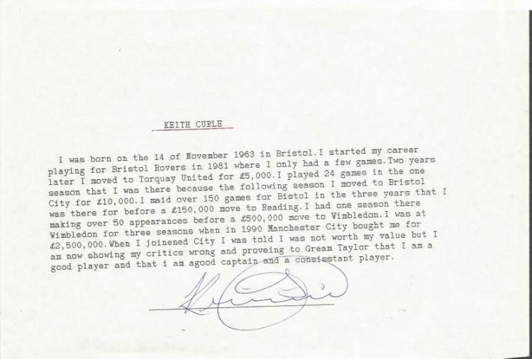 Keith Curle TLS. Half A4 sized typed letter hand s