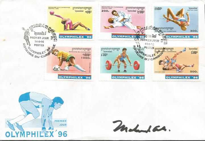 Muhammad Ali signed cover. Unusual Cambodian Olymp