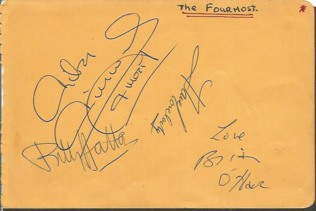 Fourmost autograph page. Signed by all 4 original
