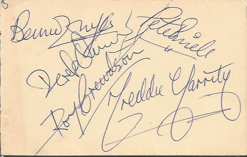 Freddie & The Dreamers signed autograph book page.