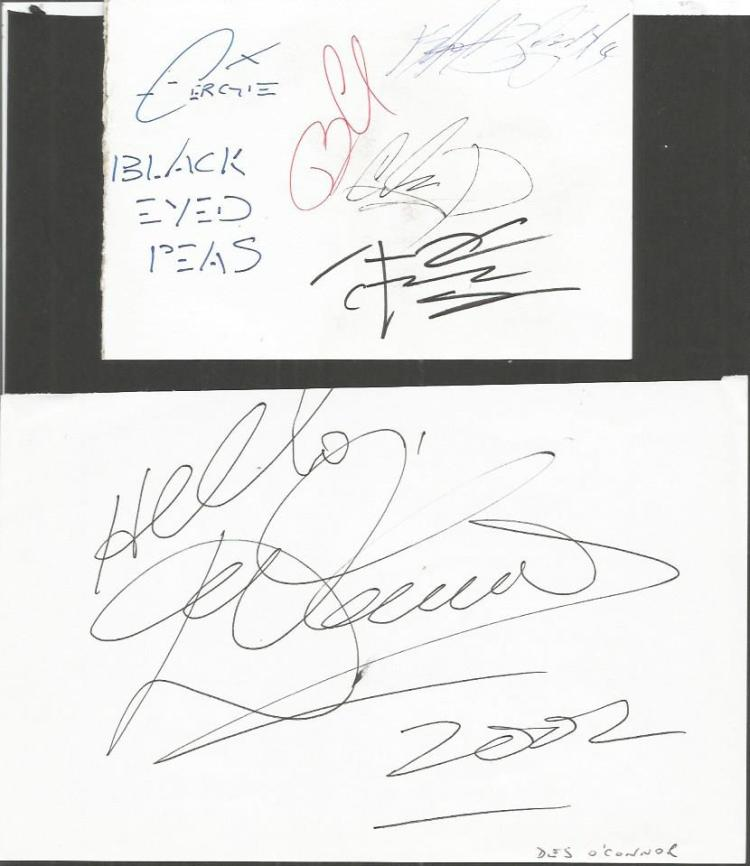 TV/Music autograph collection. Includes Black Eye