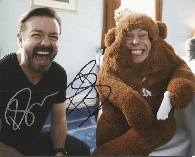 Ricky Gervaise & Warwick Davis-   - 10X8 Phot