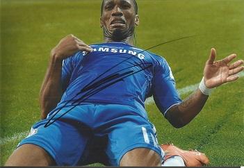 Didier Drogba Signed Chelsea 8X12 Photo Good condi
