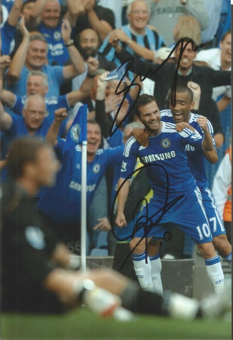 Juan Mata & Jose Bosingwa Signed Chelsea 8X12 Phot