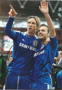 Fernando Torres & Juan Mata Signed Chelsea 8X12 Ph