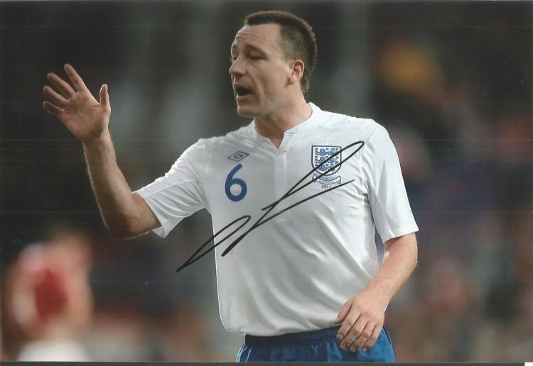 John Terry Chelsea Signed England 8X12 Photo Good
