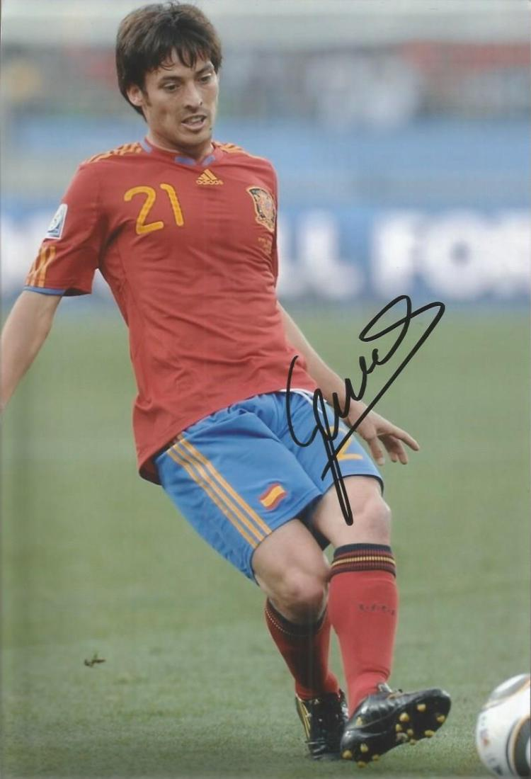 David Silva Manchester City Signed Spain 8X12 Phot