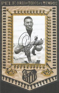 Pele Signed Repro Santos Paper Pennant  Good condi