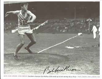 Bob Mathias Signed 1948 London Olympics 8X12 Photo