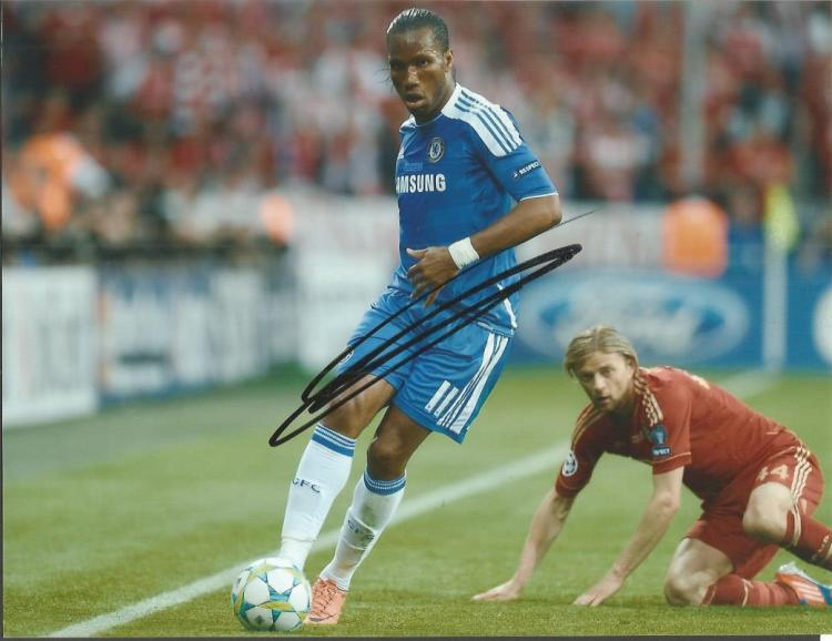 Didier Drogba Signed Chelsea 8X10 Photo Good cond