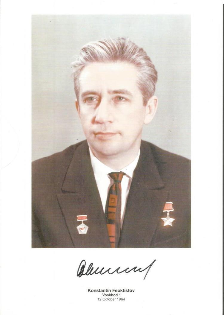 Konstantin Feoktistov Soviet Cosmonault Signed 8X1