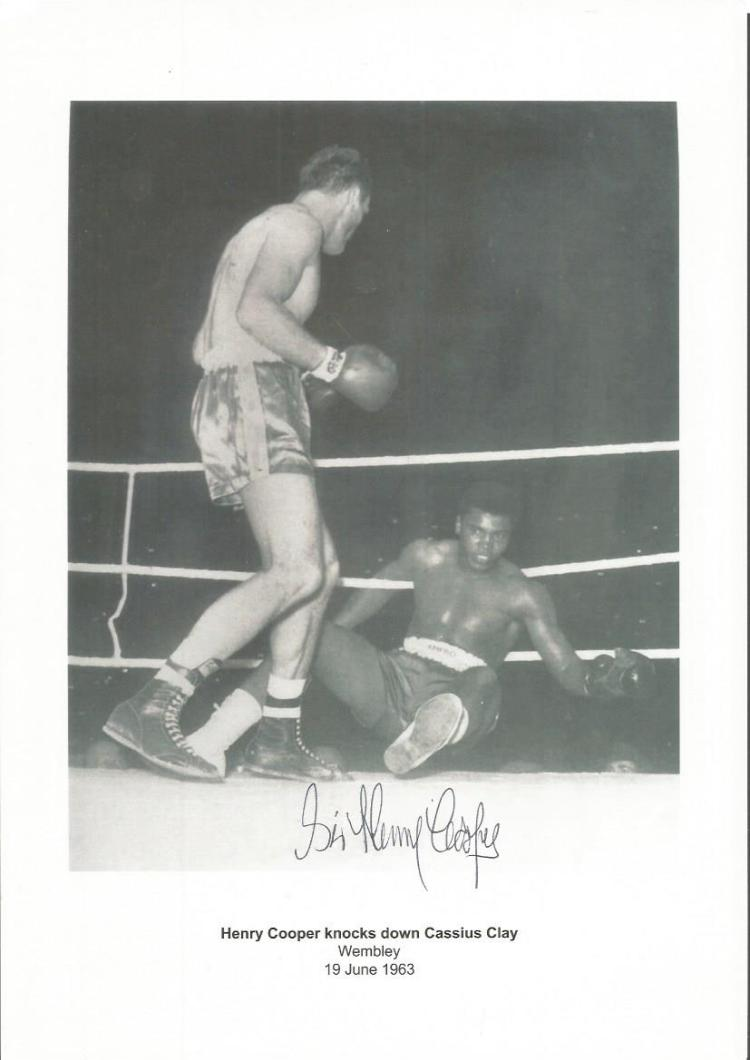 Henry Cooper Signed Knocking Down Cassius Clay In