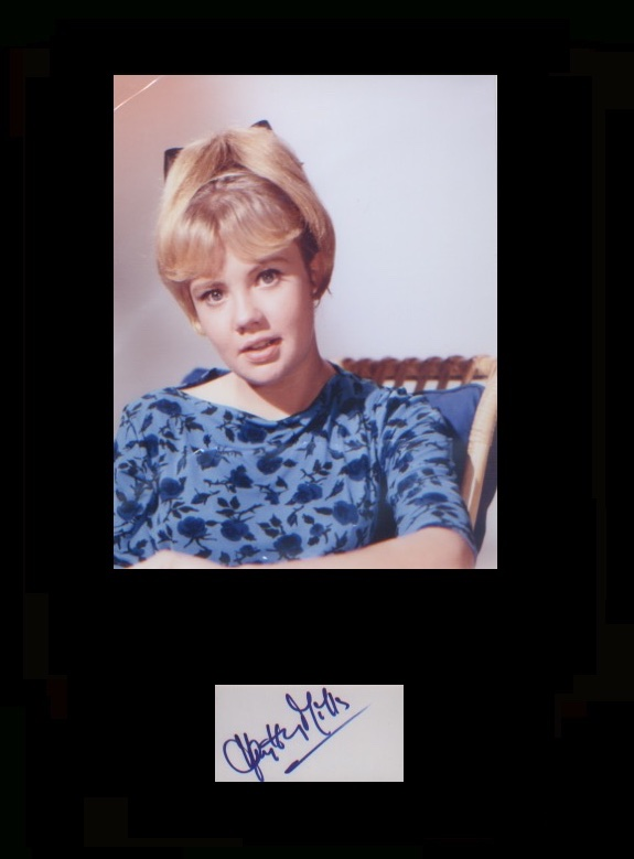 Hayley Mills. Signature mounted with young portrai