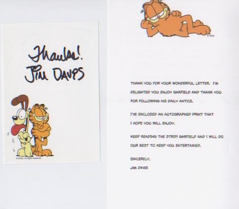Garfield - Jim Davis. Handsigned print with typed