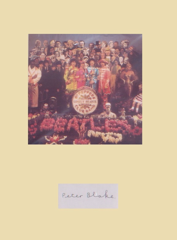 Beatles/Peter Blake. Signature of Blake mounted wi