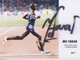 Mo Farah. Signed postcard by the Olympic champion.