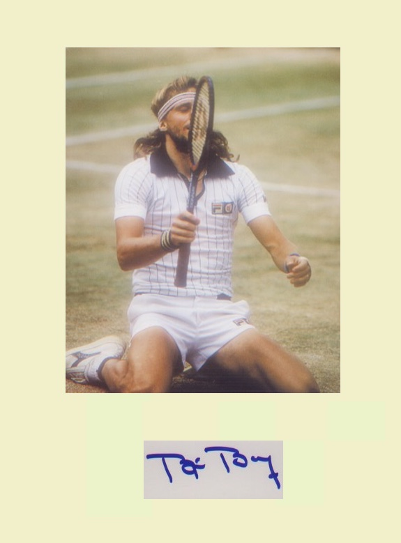 Bjorn Borg.  Signature mounted with picture at Wim