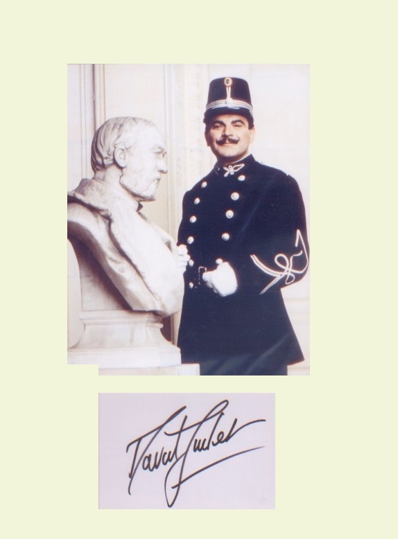 Poirot - David Suchet. Signature mounted with pict
