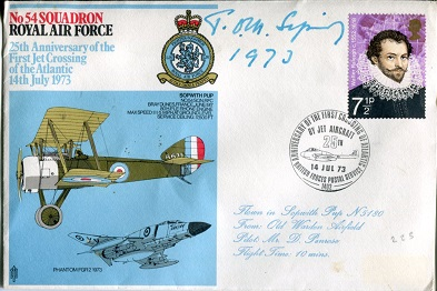 TOM SOPWITH – RAF cover signed bySir Tom Sopwith,