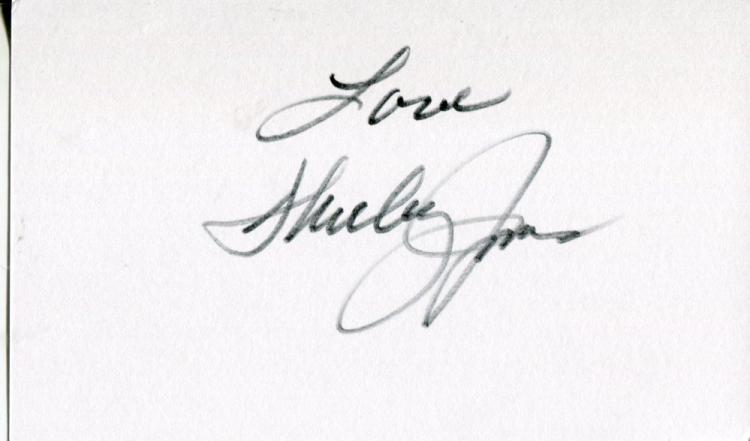 SHIRLEY JONES: 5x3 inch white cardsigned by Shirle