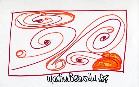 MARTINE BESWICK ART: 8x5 inch whitecard with self