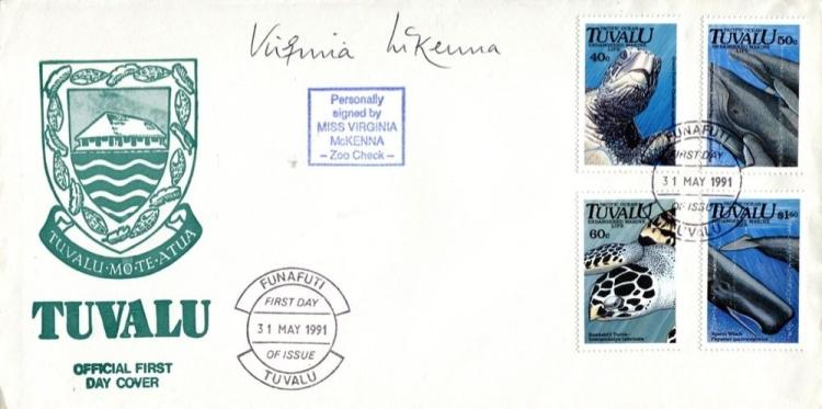 VIRGINIA McKENNA: Tuvalu First dayCover signed by
