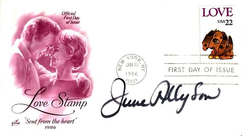 JUNE ALLYSON: Cover signed byHollywood actress Jun