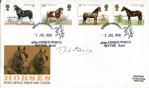 DICK FRANCIS: Horses FDC signed byauthor the late