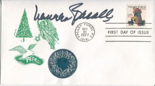 LAUREN BACALL: 1977 ChristmasPeace FDC with Valley