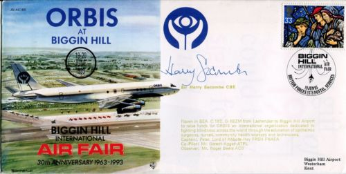 HARRY SECOMBE: 1993 Biggin Hill AirFair cover sign