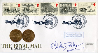 CHARLIE DRAKE: Royal Mail FDCsigned by legendary e