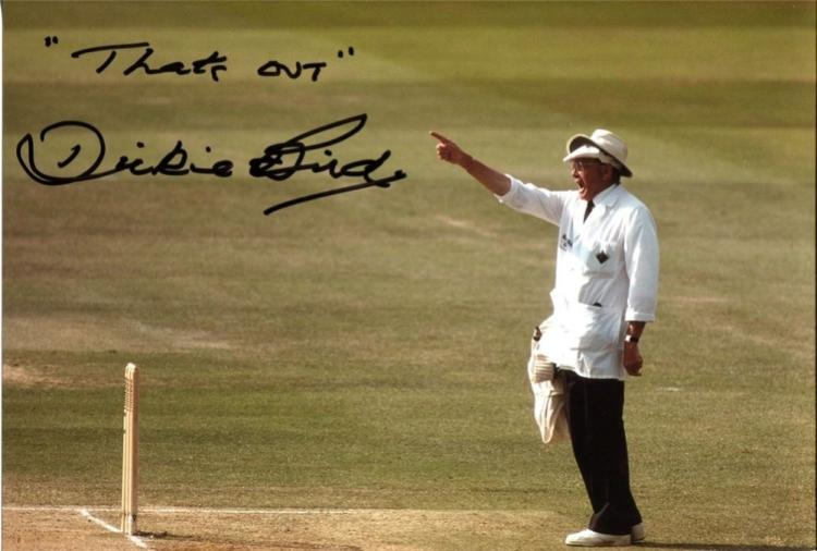 DICKIE BIRD: 8x12 inch photosigned by former test