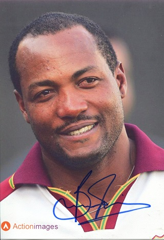 BRIAN LARA: 8x12 inch photosigned by legendary Wes