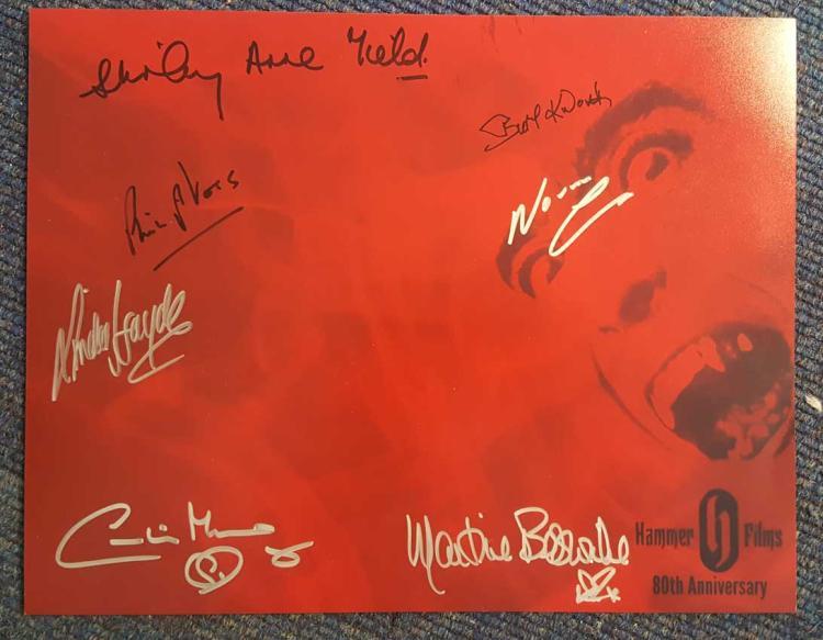 Hammer Horror Stars signed large photo. Superb lar