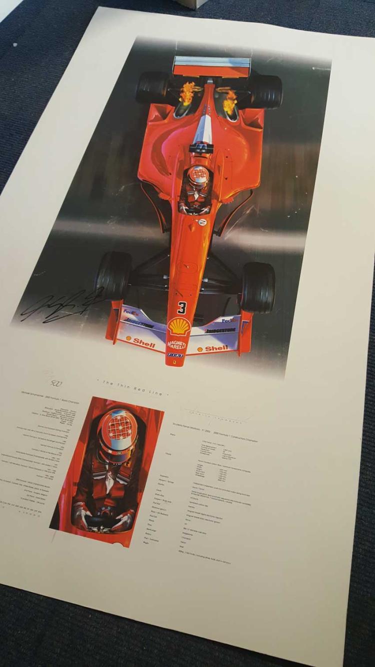 Michael Schumacher signed Ferrari print. Massive p