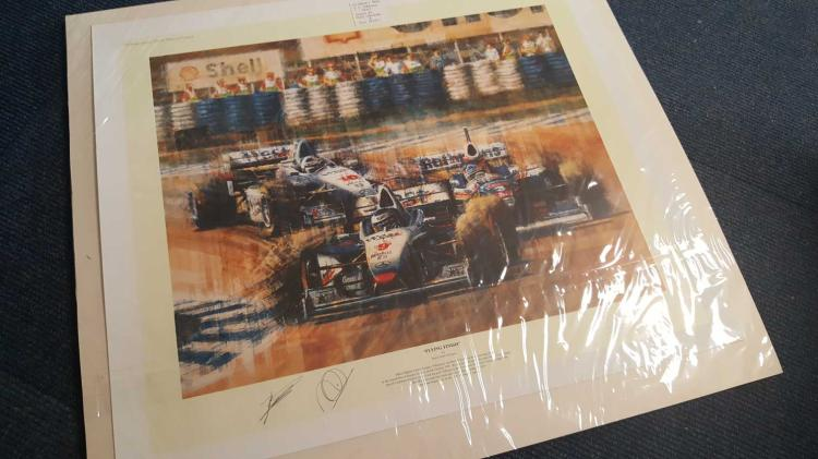 Mika Hakkinen and Ron Dennis signed print. Large p