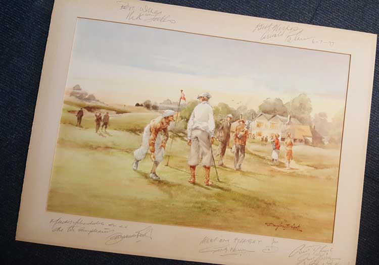 Vintage Autographed Golf Print. Exceptionally rare