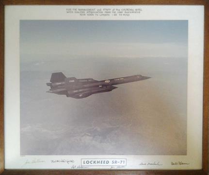 Autographed Lockheed Sr-71 Blackbird Framed Print.