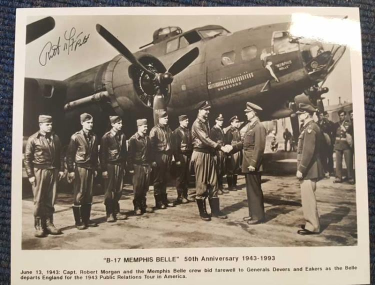 Captain Robert Morgan signed Memphis Belle photogr