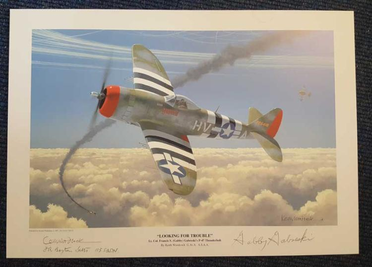 Colonel Gabby Gabreski signed print. Stunning 12x1