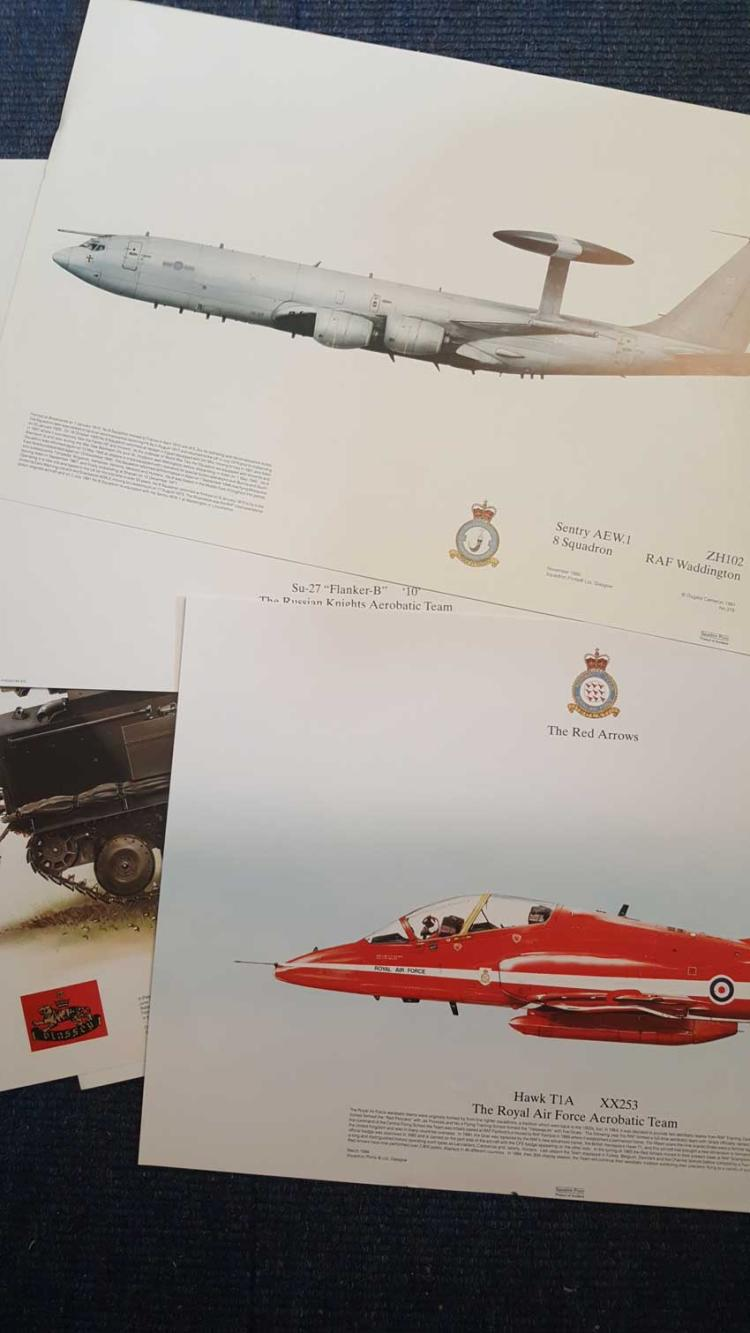 Collection of five aviation prints. Five high qual