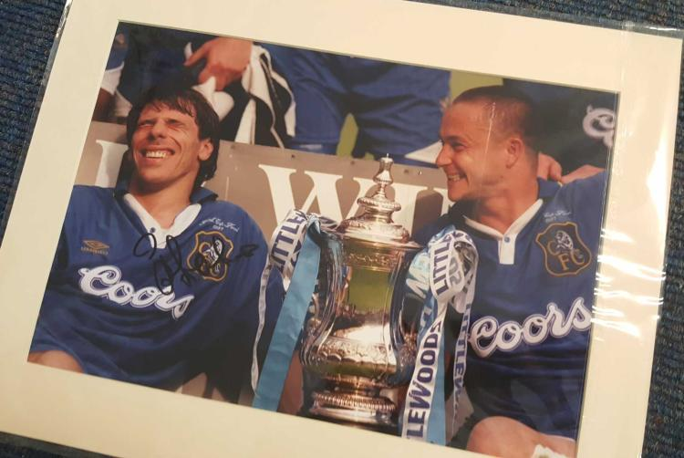 Gianfranco Zola Signed 11X14 Mounted Chelsea Photo