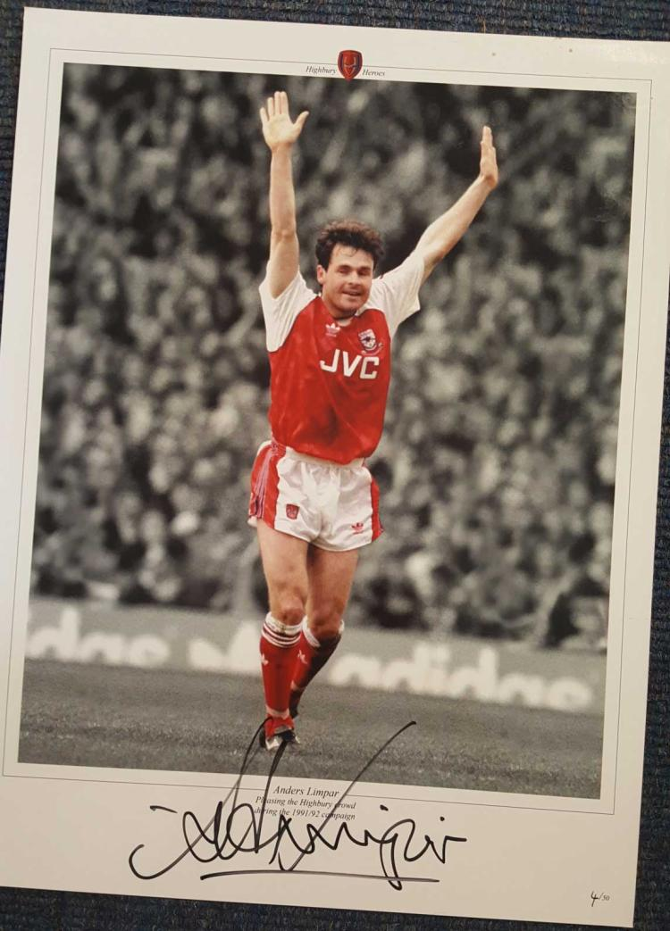 Anders Limpar Signed Arsenal 12X16 Photo  Good con