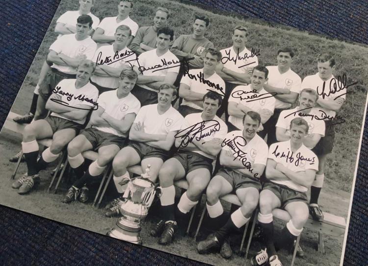 Tottenham Hotspur 1962 Fa Cup Winners Squad 12X16