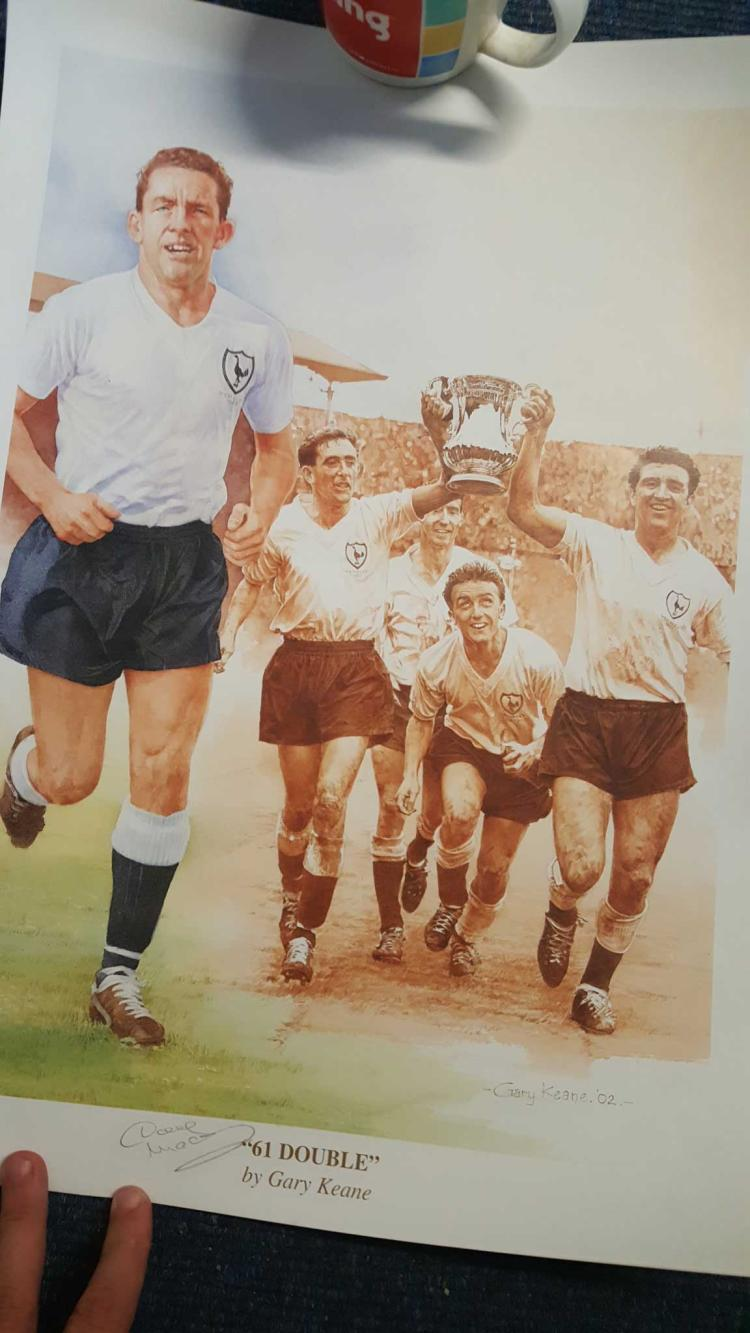 "Dave Mackay Signed 14X20 Limited Edition ""61 Doubl"