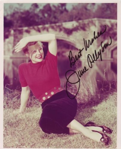 JUNE ALLYSON: 8x10 inch photosigned by actress Jun